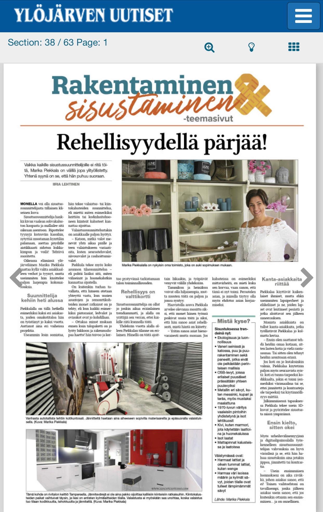 Ylöjärven Uutisten haastattelu, Rakentaminen & sisustaminen, julkaisu syyskuu 2018