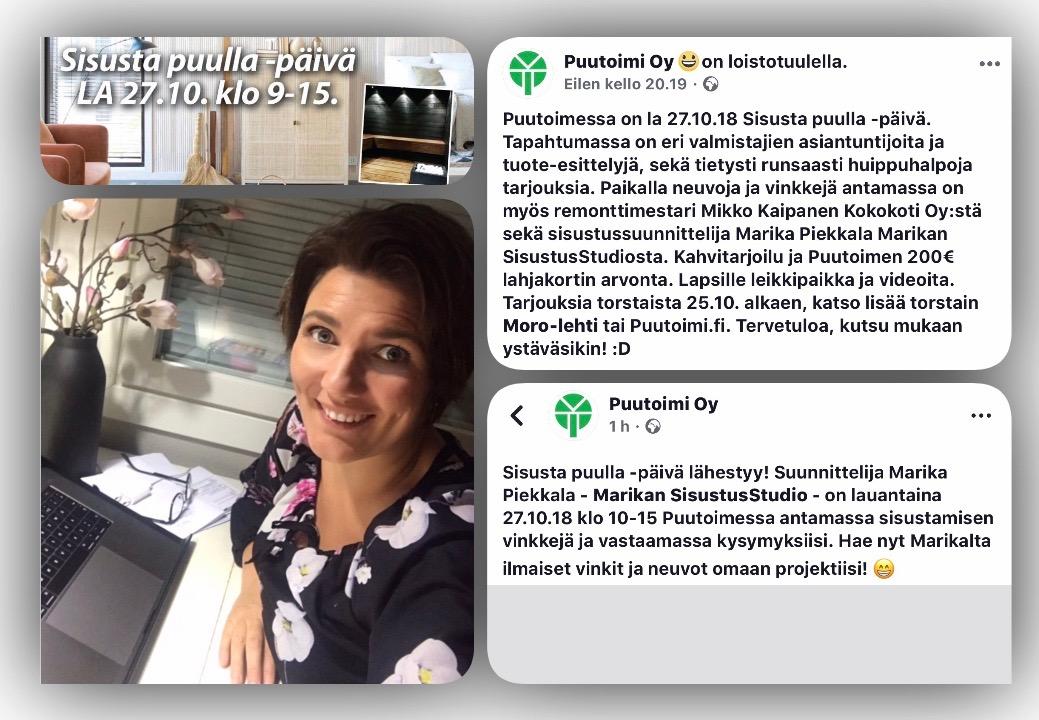 Nähdään lauantaina Sisusta puulla- päivillä Ylöjärven Puutoimessa 27.10.2018