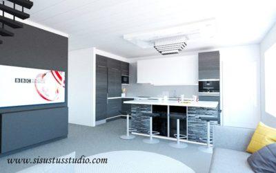 Moderni musta-valko-harmaa toive uudesta olohuone-keittiö tilasta. Väliseinä kaa…