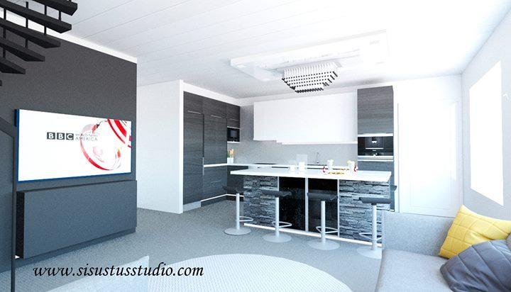 Moderni musta-valko-harmaa toive uudesta olohuone-keittiö tilasta.