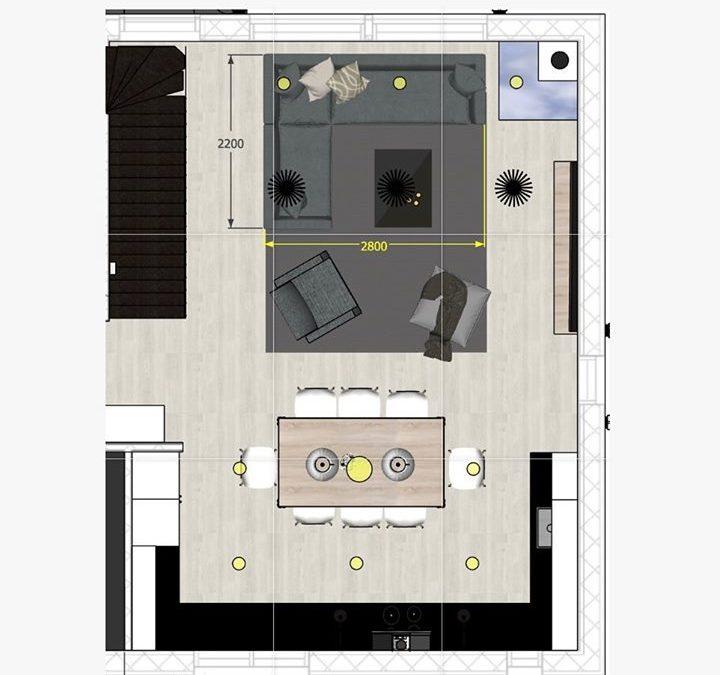 Kaksikerroksisen omakotitalon pintasuunnittelu, kiintokalustesuunnittelu …