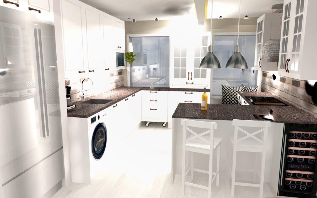 Tampereen keskustan kerrostalon muodonmuutos, tilasuunnittelulla keittiö isommaksi, lisänä valaistus & pesuhuoneen remontti