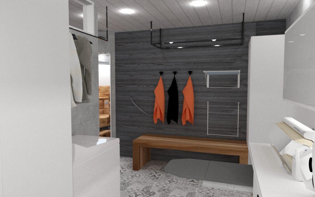 Oriveden kodinhoitohuone, pesuhuone ja sauna lopullinen versio.