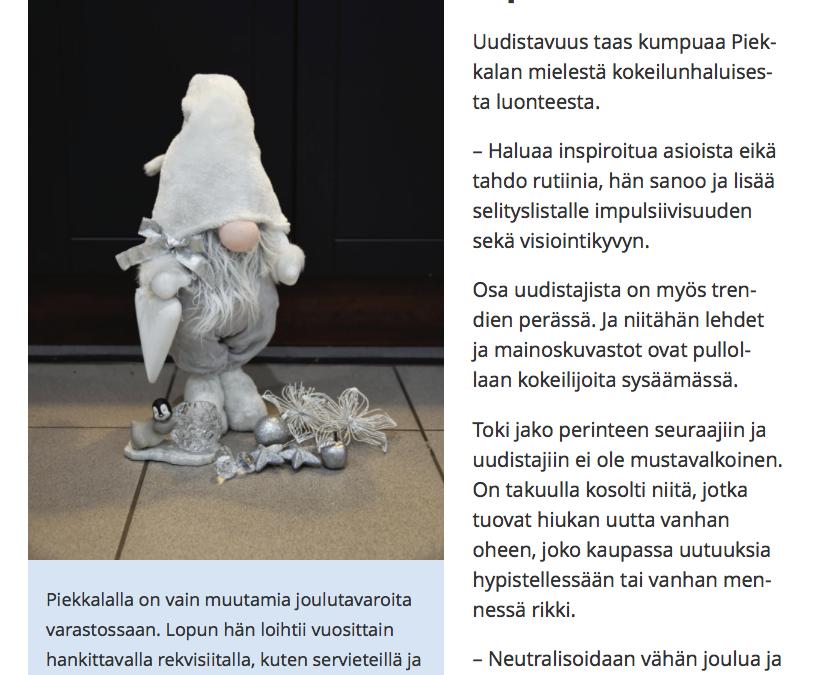Ylöjärven Uutiset 12.12.2016, Sisustussuunnittelijan oma joulu